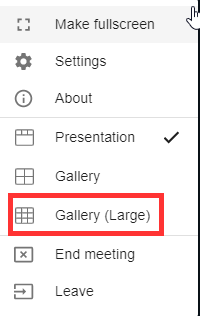 Bongo Virtual Classroom Toggle to Large Gallery View